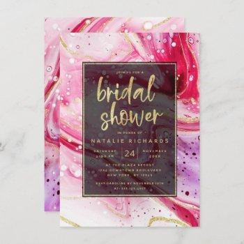 inky splash red marble with gold bridal shower invitation