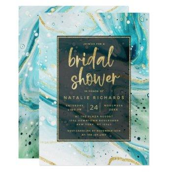 inky splash teal marble with gold bridal shower invitation
