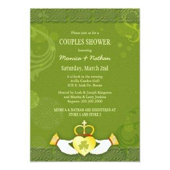 irish claddagh heart wedding couples shower invitation