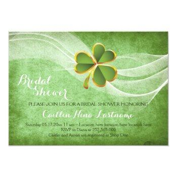 irish clover and veil green wedding bridal shower invitation