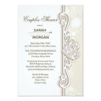 irish lace couples wedding shower invitation