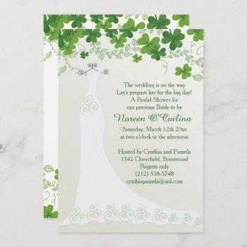 irish shamrock, wedding gown bridal shower invitation