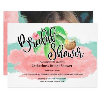 island palm pink mint coconut flower modern bridal invitation