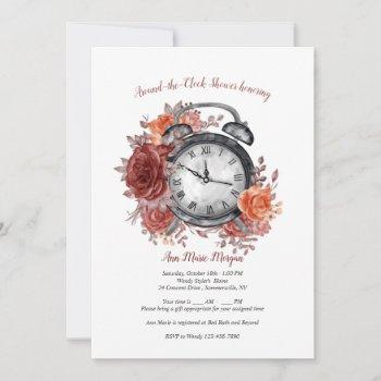 it's almost time around the clock bridal shower invitation