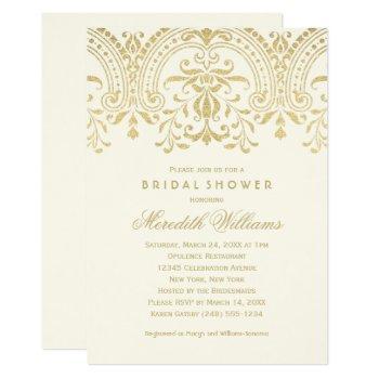 ivory and gold vintage glamour | bridal shower invitation