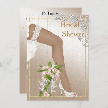 ivory and satin african american bridal shower invitation