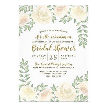 ivory blush champagne bridal shower invitations