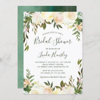 ivory chic floral garden greenery bridal shower invitation