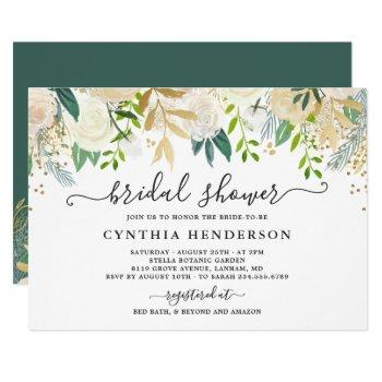 ivory greenery gold bloom floral bridal shower invitation