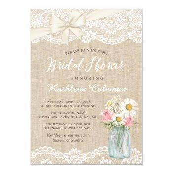 ivory lace burlap mason jar floral bridal shower invitation