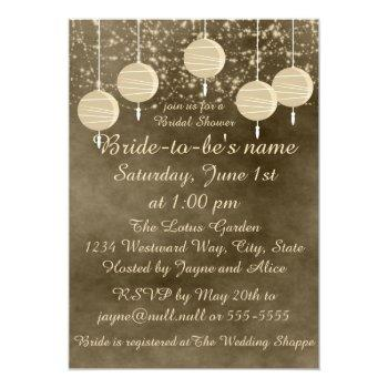 ivory lanterns bridal shower invitation