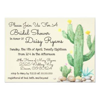 ivory watercolor cactus bridal shower invitation