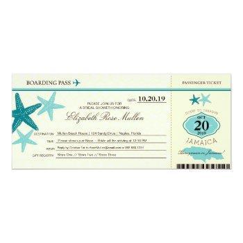 jamaica bridal shower boarding pass invitation