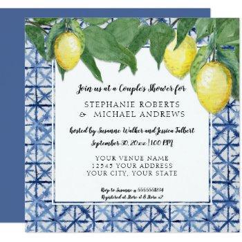 japanese shibori blue n white lemon couples shower invitation