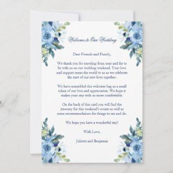 juliette blue wedding welcome letter & itinerary