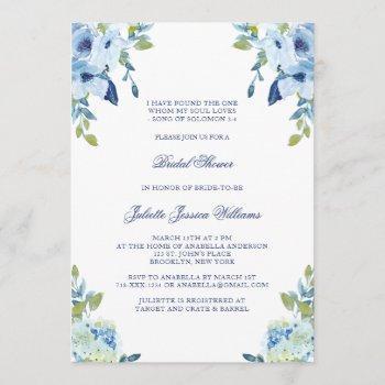 juliette elegant floral dusty blue bridal shower invitation