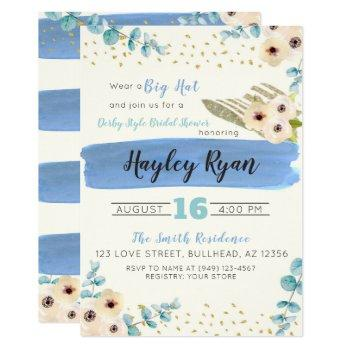 kentucky derby big hat eucalyptus bridal shower invitation