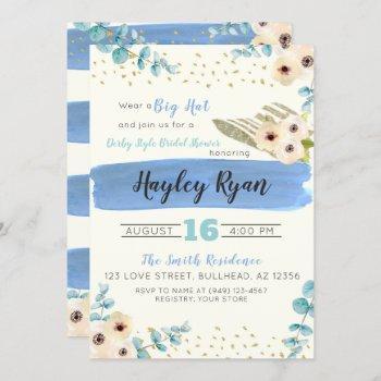 kentucky derby big hat eucalyptus bridal shower invitation