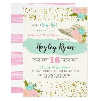 kentucky derby big hat pink & mint bridal shower invitation