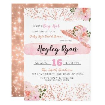kentucky derby big hat rose gold bridal shower invitation