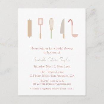 kitchen cooking accessories utensils bridal shower invitation