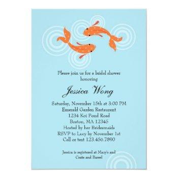 koi fish pond bridal shower invitation