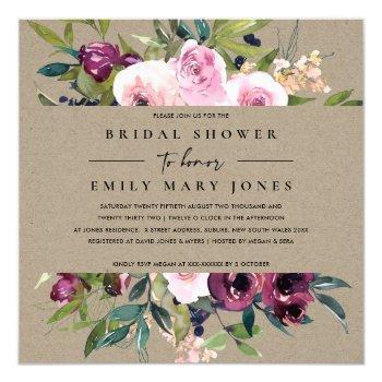 kraft blush burgundy floral bunch bridal shower invitation