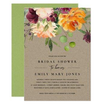kraft blush yellow orange floral bridal shower invitation