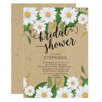 kraft daisy flowers bridal shower invitation