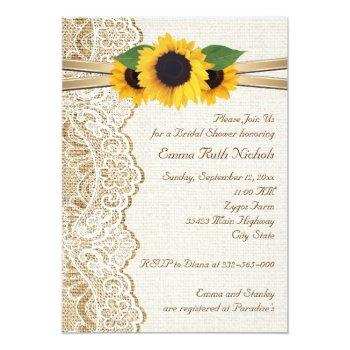 lace & sunflowers on burlap wedding bridal shower invitation