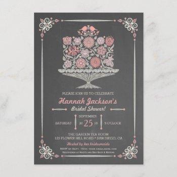 lacy flower cake bridal shower invitation ii