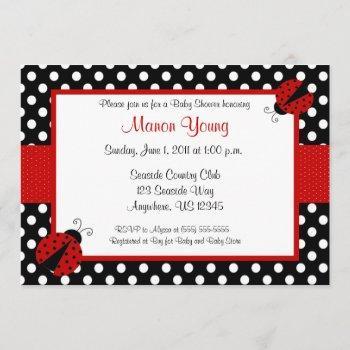 lady bug baby or bridal shower invitation
