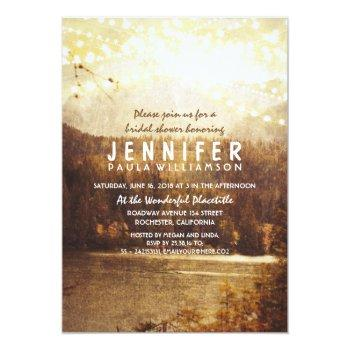 lake and mountains rustic bridal shower invitation