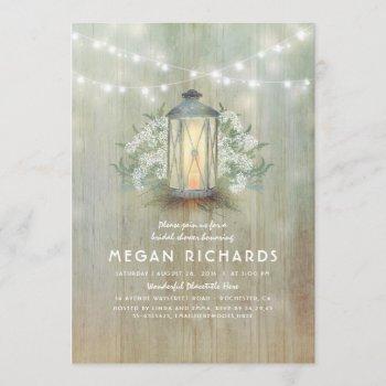 lantern and baby's breath rustic bridal shower invitation