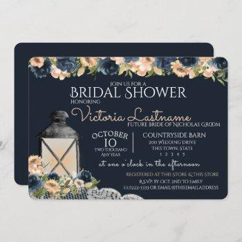 lantern and flowers navy blue bridal shower invitation