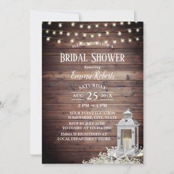 lantern & starfish string lights bridal shower invitation