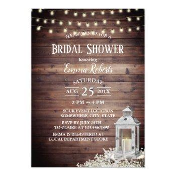 lantern & starfish string lights bridal shower invitation
