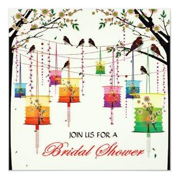 lanterns cherry tree birds spring bridal shower invitation