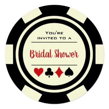 las vegas poker chip black off white bridal shower invitation
