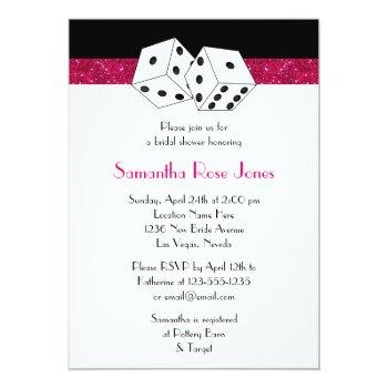 las vegas wedding bridal shower pink dice theme invitation