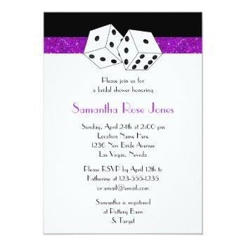 las vegas wedding bridal shower purple dice theme invitation