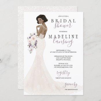 lavender bride in lace gown bridal shower invitation