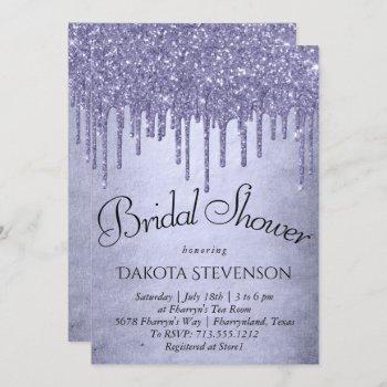 lavender drip bridal shower | purple chic script invitation