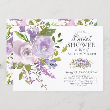 lavender floral bridal shower invitations
