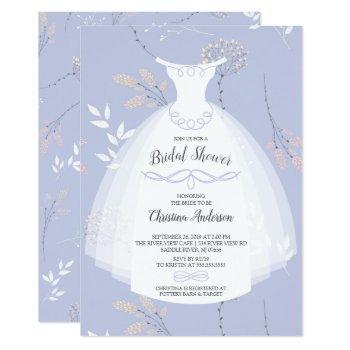 lavender floral elegance bride gown bridal shower invitation