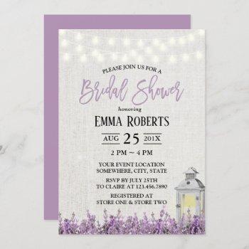 lavender floral white lantern bridal shower invitation