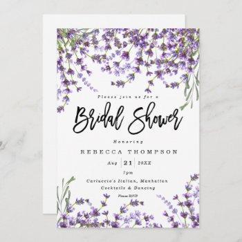 lavender florals boho modern bridal shower invitation