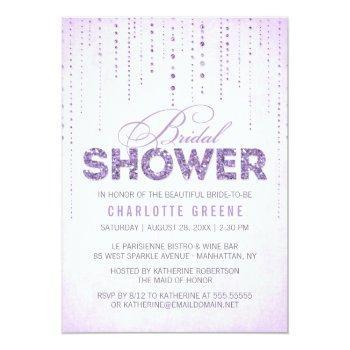 lavender glitter look bridal shower invitation