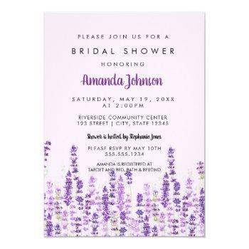 lavender light purple flowers bridal shower invitation