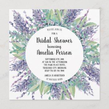 lavender love floral eucalyptus bridal shower invitation